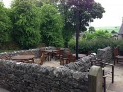 Outdoor dining at the Church Inn, Chelmorten, Peak District Pubs